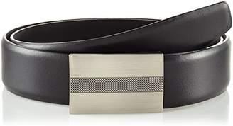 LINDENMANN Mens leather belt/Mens belt, leather belt curved with plate buckles,Größe/Size:, Farbe/Color: