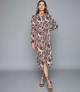 Reiss Inaya - Printed Midi Dress in Brown/ White