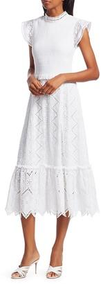 Sea Zipper Smocked Midi Dress