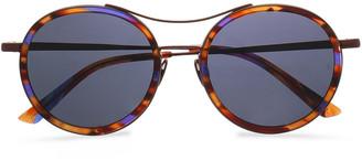 SUNDAY SOMEWHERE Roso Round-frame Tortoiseshell Acetate And Metal Mirrored Sunglasses
