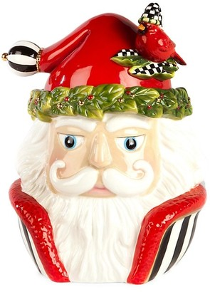 Mackenzie Childs Night Cap Santa Cookie Jar