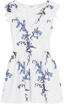 Miu Miu Embroidered Cotton-poplin Mini Dress - White