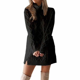 CHMORA Women Winter Sweater Knit Turtleneck Warm Long Sleeve Pocket Sexy Mini Dress Black