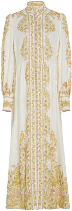 Zimmermann Floral-Print Linen Maxi Dress