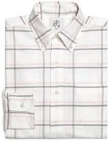 Brooks Brothers White Pink and Grey Large Windowpane Button-Down Shirt