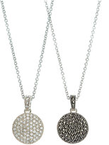Judith Jack Necklace, Marcasite and Crystal Circle Reversible Pendant