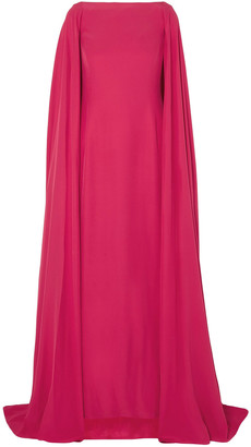 Carolina Herrera Cape-back Silk-satin Gown