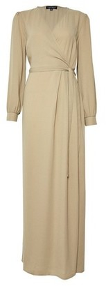 Dorothy Perkins Womens Khaki Long Sleeve Wrap Maxi Dress, Khaki