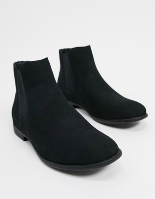 Jack and Jones faux-suede chelsea boot in black