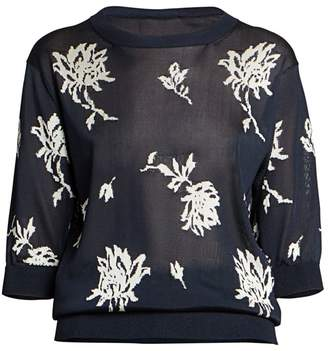 Chloé Floral Lightweight Knit Pullover
