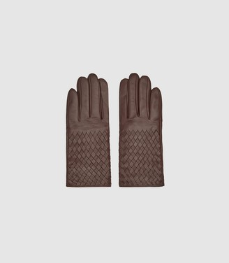 Reiss Joy - Leather Weave Detail Gloves in Chocolate