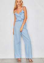 Missy Empire Rivia Light Blue Denim Ruffle Wide Leg Jumpsuit