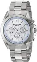 Akribos XXIV Women's Multi-Function Stainless Steel Case on Stainless Steel Bracelet and Dial with Silver Tone Hands Watch AK951SSPU