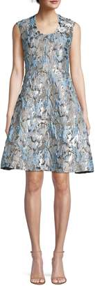 Aidan Mattox Metallic Jacquard Fit-&-Flare Dress