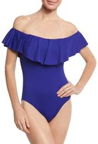 Trina Turk Gypsy Solids Off-the-Shoulder One-Piece Swimsuit, Blue