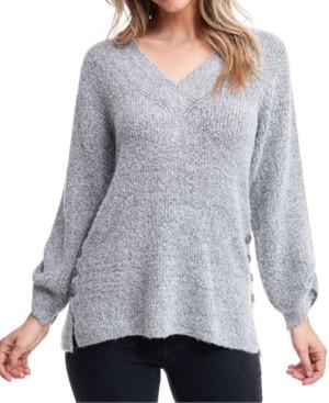 Fever Button-Trim Split-Cuff Sweater