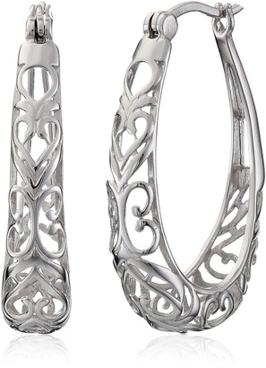 Amazon Collection Sterling Silver Filigree Oval Hoop Earrings