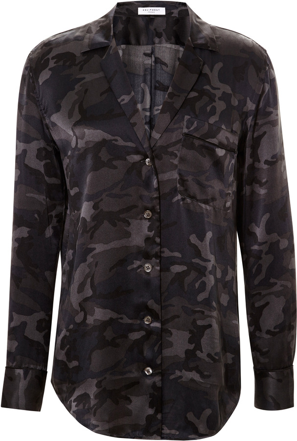 Equipment Keira Camouflage Silk Blouse