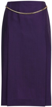 Victoria Beckham Pleated Wool & Mohair Skirt W/ Chain