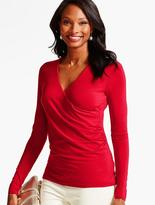 Talbots Ruched-Wrap Platinum Jersey Top