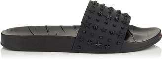 Jimmy Choo REY/M Black Star Embossed Rubber Slides