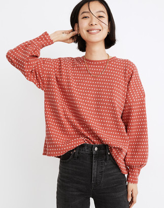 Madewell Floral Jacquard Puff-Sleeve Top