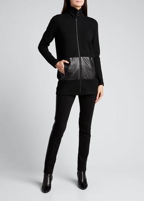 Akris Punto Knit Cardigan w/ Faux Leather Pockets