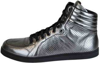 Gucci Silver Leather Trainers