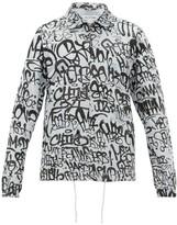 Comme des Garcons Graffiti-printed Cotton Jacket - Mens - Blue