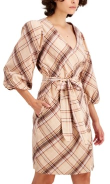INC International Concepts Inc Puff-Sleeve Wrap Dress, Created for Macy's