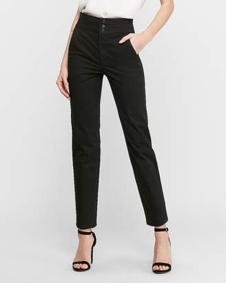 Express Super High Waisted Straight Elastic Back Cropped Pant