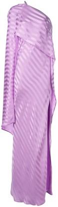 Mason by Michelle Mason one-shoulder cape gown