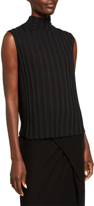 Vince Mixed Rib Sleeveless Turtleneck Top
