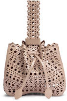 Alaia Beige leather laser-cut bucket bag