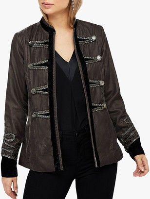Monsoon Maria Military Velvet Jacket, Grey