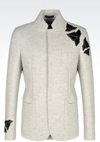 Emporio Armani Double-Breasted Jacket In Tweed Effect Jersey