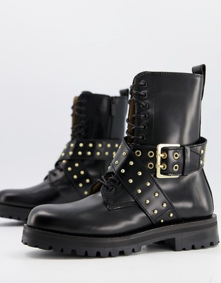 And other stories & leather cross strap stud detail chunky flat boots in black