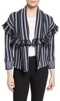 Burberry Striped Fringe-Trim Cardigan, Navy