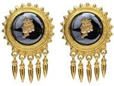 Ben-Amun Royal Charm Dark Cameo Stone Gold Spike Drop Clip-On Earrings