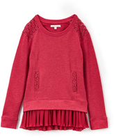 Celebrity Pink Berry Lace & Chiffon Layered French Terry Pullover - Girls
