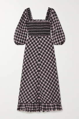 Ganni Smocked Checked Cotton-blend Seersucker Midi Dress - Pink