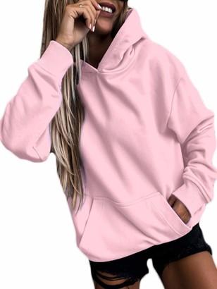 Aap Hoodies for Women Teen Girls Casual Loose Solid Color Long Sleeve Hooded Sweatshirt Jumper Tops L Pink