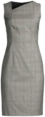 BOSS Delray Natural Wool Stretch Check Sheath Dress