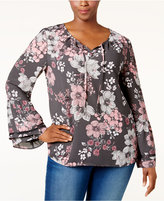 Style&Co. Style & Co. Plus Size Floral Bell-Sleeve Top, Only at Macy's