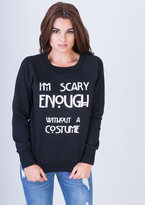 Missy Empire Carmen Black Scary Slogan Sweatshirt