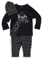 Petit Lem Baby's Giraffe Logo Top, Leggings & Hat Three-Piece Set