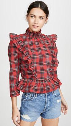 ENGLISH FACTORY Tartan Ruffled Top