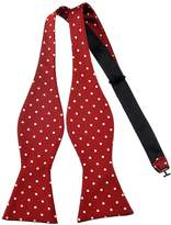 Pense'e Pensee Mens Self Bow Tie Red and White Polka Dot Jacquard Woven Silk Bow Ties