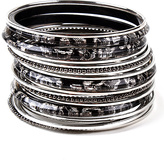 Amrita Singh Black & Silvertone Zara Bangle Set