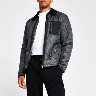River Island Mens Dark Grey patch pocket quilted jacket